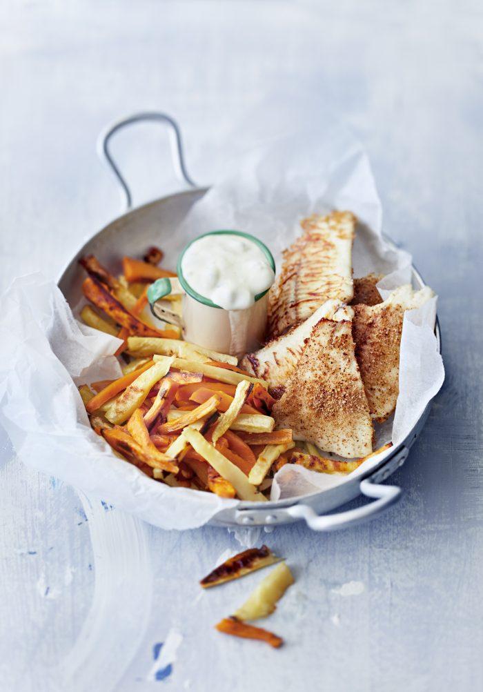 Fish and chips uunissa